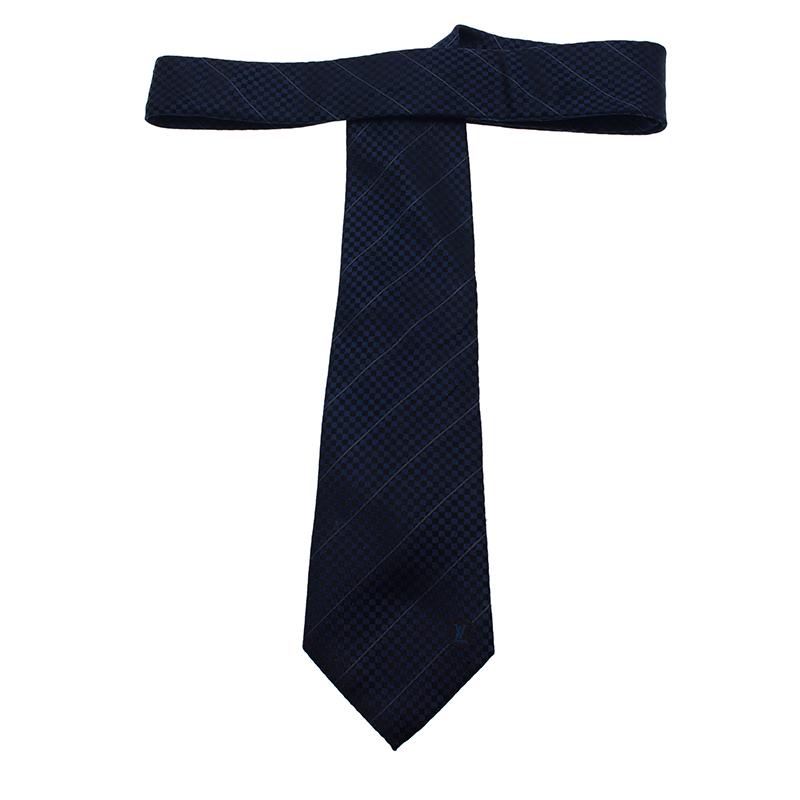 Louis Vuitton Blue Petit Damier Striped Tie