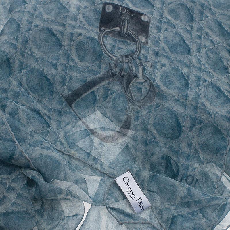 Dior Grey  Silk Cannage Print Scarf