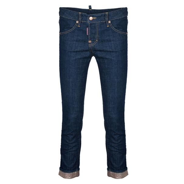 Dsquared2 Blue Cropped Metallic Hem Denim Jeans S