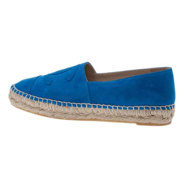 Chanel Blue Suede CC Espadrilles Size 38
