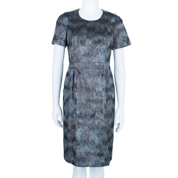 Burberry Metallic Printed Shift Dress M