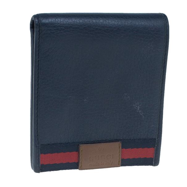 Gucci Blue Leather Bi-Fold Mens Wallet