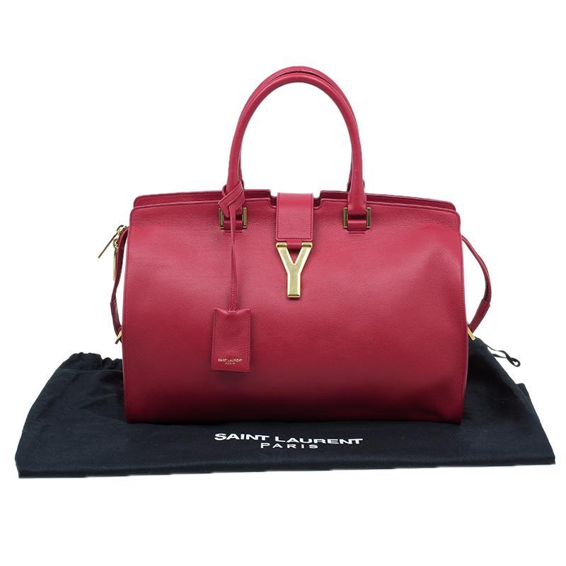 Saint Laurent Paris Red Leather Medium Cabas Chyc Tote