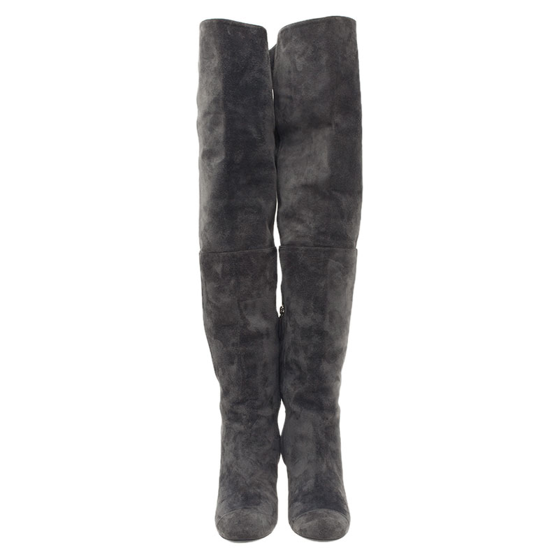 Chanel Grey Suede CC Over The Knee Boots Size 39.5