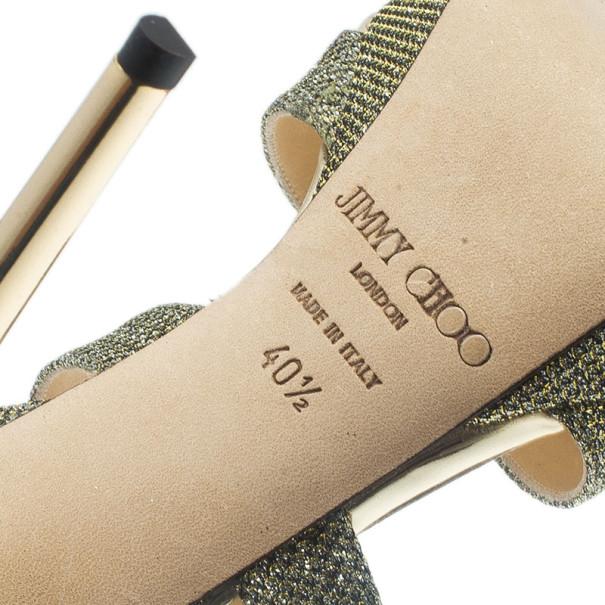 Jimmy Choo Silver Glitter Vamp Platform Sandals Size 40.5