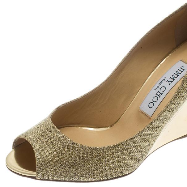 Jimmy Choo Gold Glitter Baxen Peep Toe Wedge Pumps Size 37