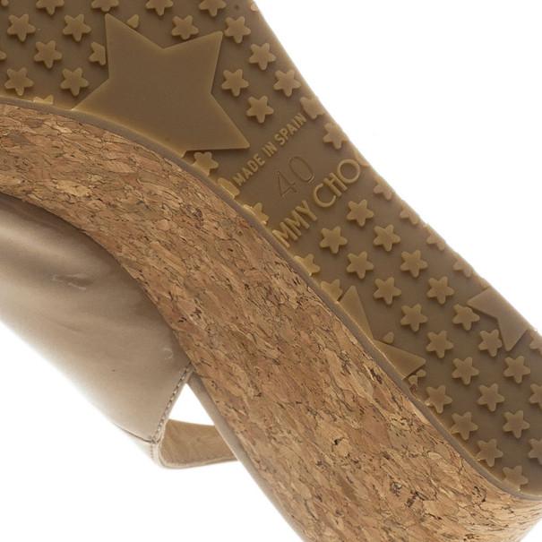 Jimmy Choo Nude Patent Praise Cork Slingback Wedges Size 40