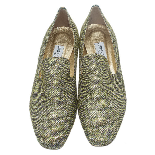Jimmy Choo Gold Lame Wheel Smoking Slippers Size 40.5