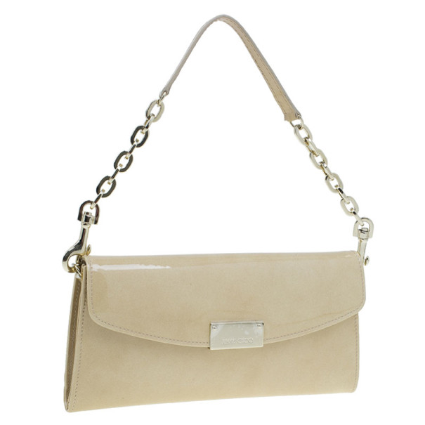 Jimmy Choo Nude Patent Leather Riane Clutch