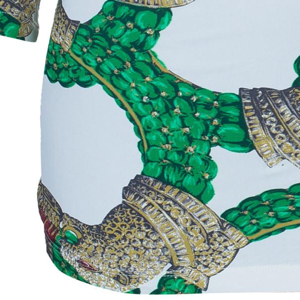 Roberto Cavalli Draped Neck Jersey Print Top M