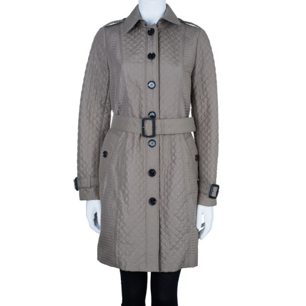 Burberry Taupe Quilted Trench Coat S