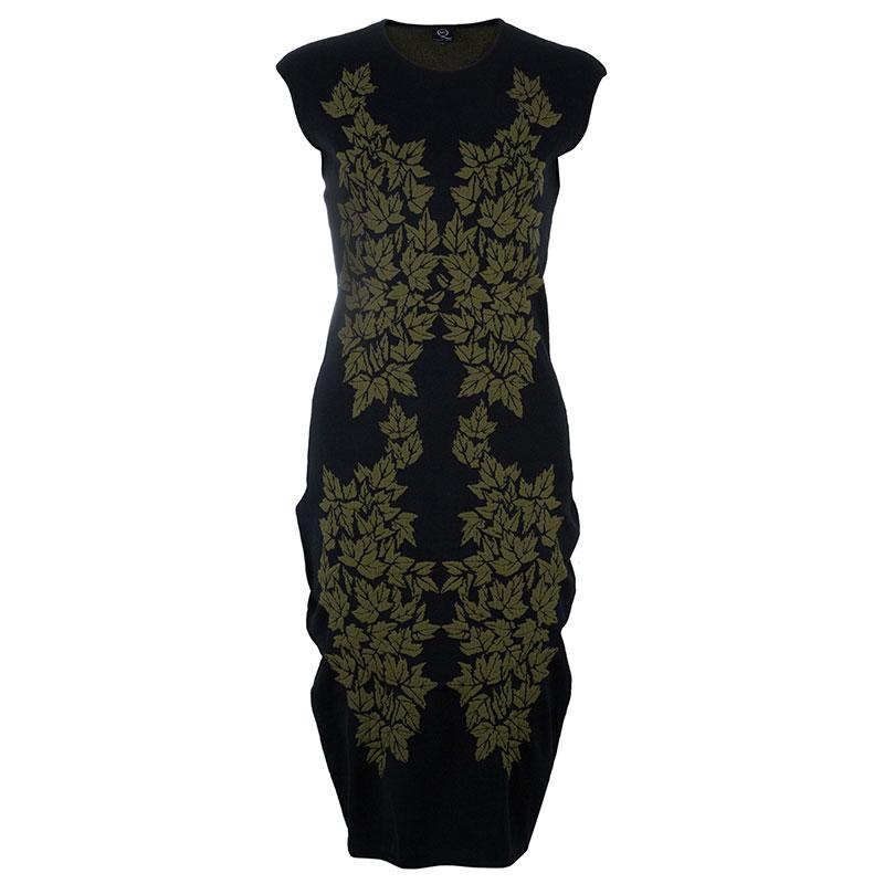 McQ by Alexander McQueen Black Leaf Print Knit Dress L
