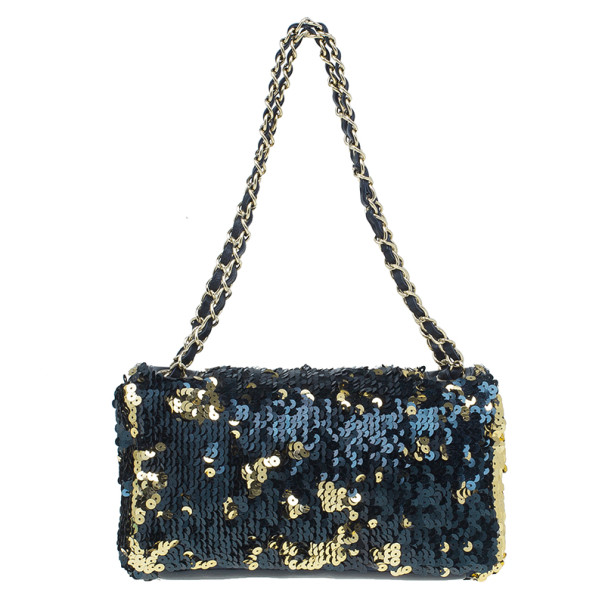 Chanel Black and Gold Sequin Single Flap Bag