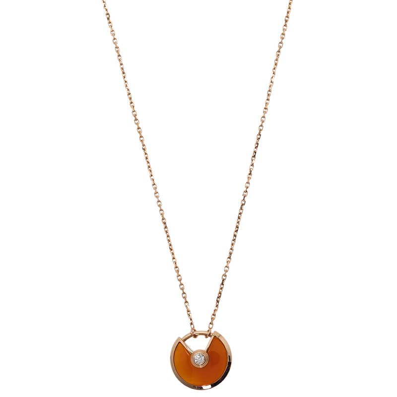 Cartier Amulette De Cartier Carnelian Pink Gold Pendant Necklace