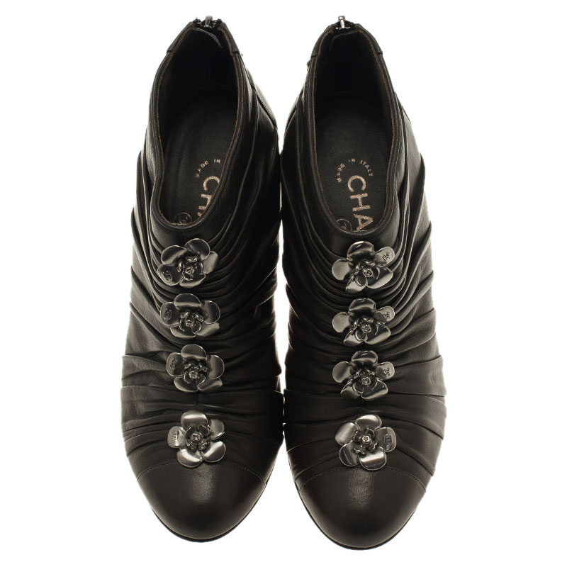 Chanel Dark Grey Pleated Leather Camellia Ankle Boots Size 38.5