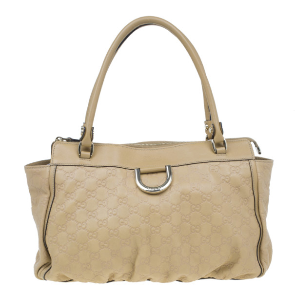 Gucci Beige GG Leather D Ring Satchel