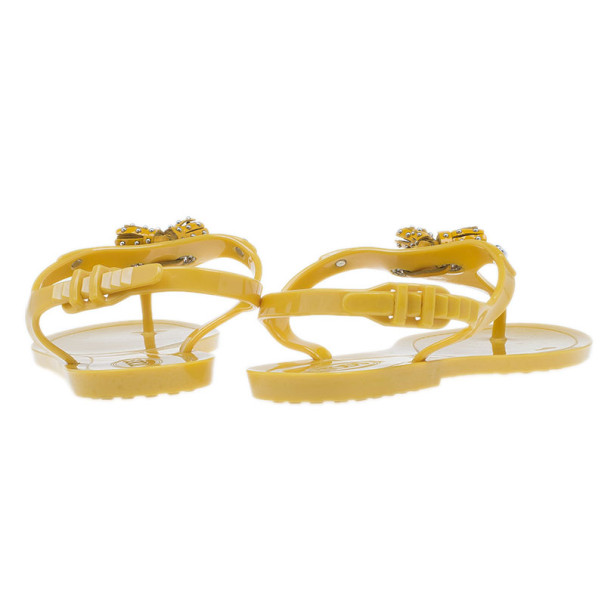 Tod's Yellow Tassel Detail Thong Jelly Sandals Size 38
