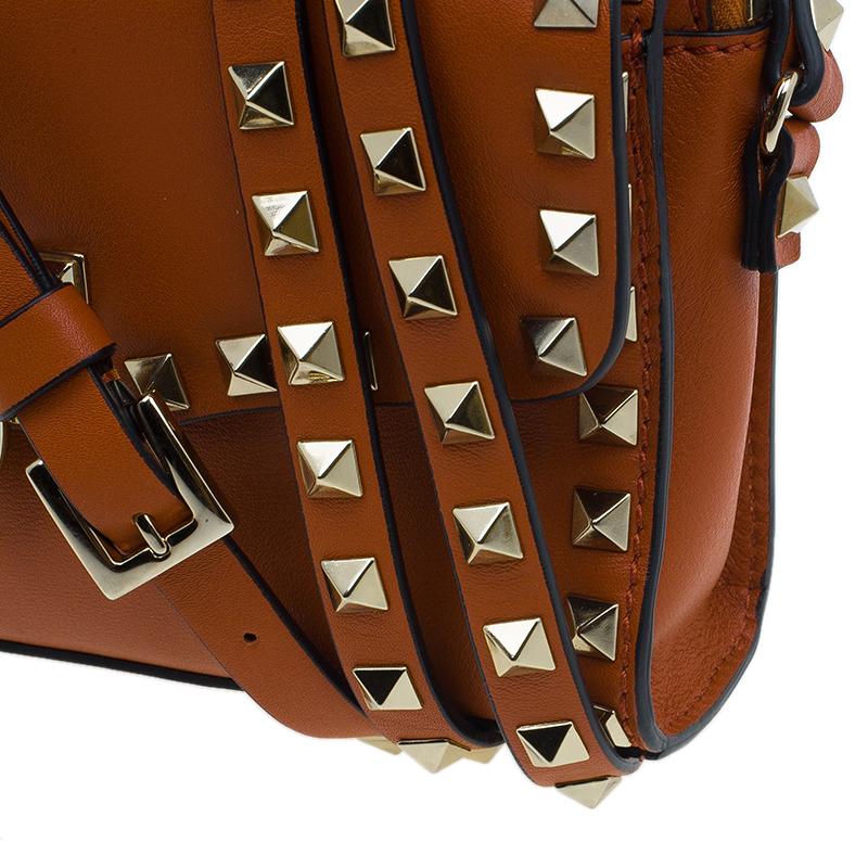 Valentino Orange Leather Rockstud Removable Pouch Crossbody Bag