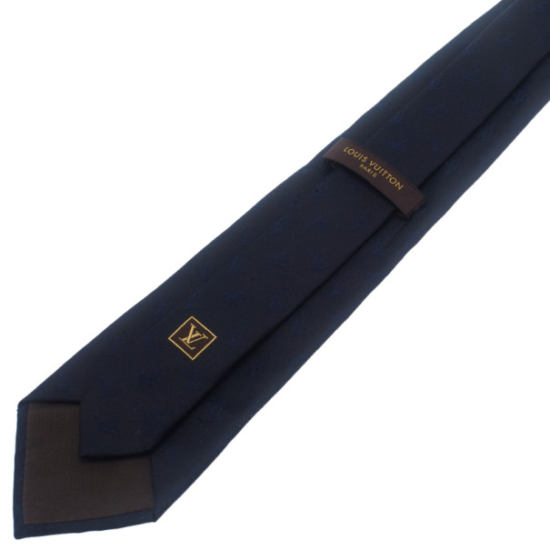 Louis Vuitton Navy Blue Initials Tie
