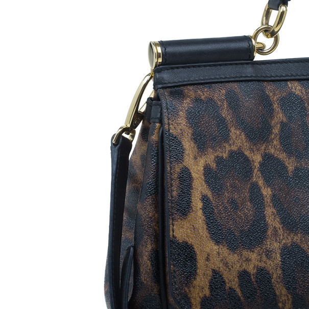 Dolce and Gabbana Leopard Coated Canvas Miss Sicily Satchel