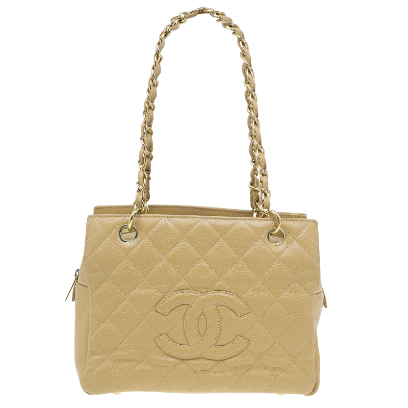 Chanel Beige Quilted Caviar Leather Petite Timeless Shopper Tote Bag