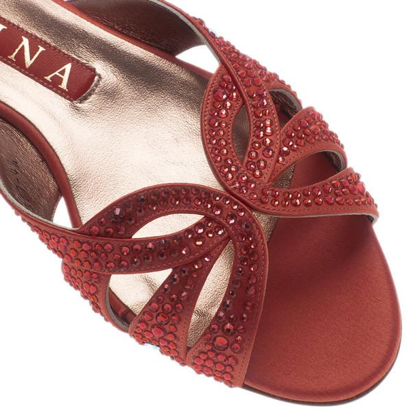 Gina Pink Satin Crystal Sabrina Flat Sandals Size 37.5