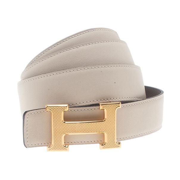 Hermes White H Buckle Reversible Belt 95CM