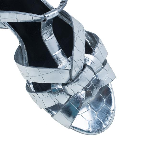 Saint Laurent Paris Silver Croc Embossed Leather Tribute Platform Sandals Size 37