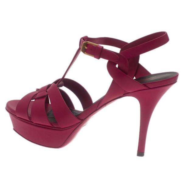 Saint Laurent Paris Pink Leather Tribute Platform Sandals Size 37.5