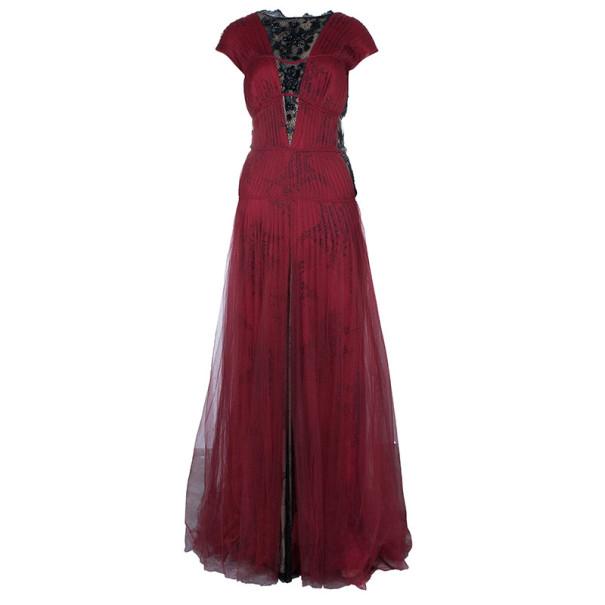 Tadashi Shoji Pleated Lace Red Black Gown XL