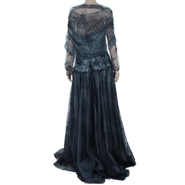 Tadashi Shoji Off-Shoulder Lace Tulle Gown L