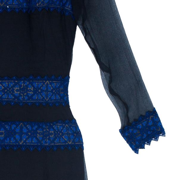 Tadashi Shoji Border Lace Chiffon Gown S