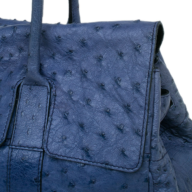 Mulberry Blue Ostrich Leather Bayswater Satchel Bag