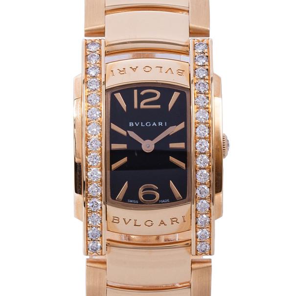 Bvlgari Black 18K Rose Gold Assioma Women's Wristwatch 22MM