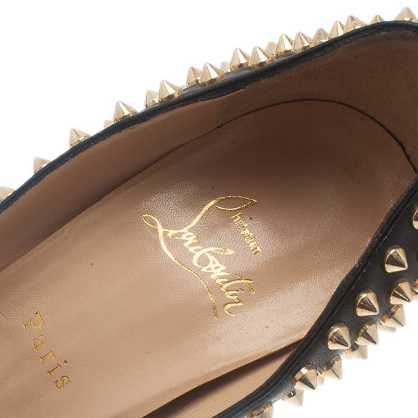 Christian Louboutin Black Leather Lady Peep Spikes Platform Pumps Size 42