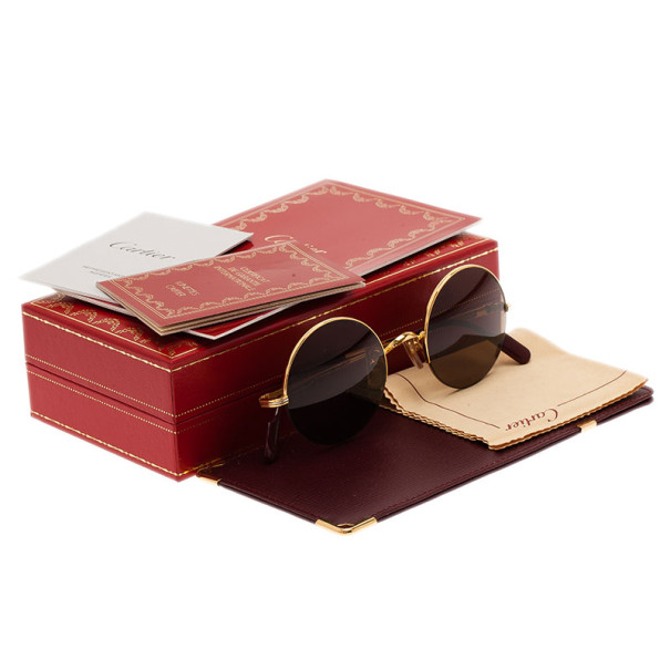 Cartier Gold Half Rimmed Round Mayfair Sunglasses