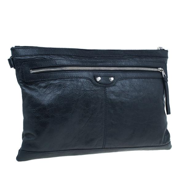 Balenciaga Black Leather Large Clip L Clutch