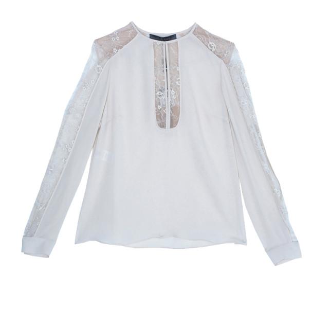 Elie Saab Cream Silk Lace-Detailed Tunic M