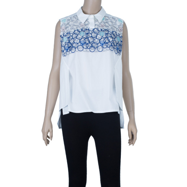 Peter Pilotto White Sleeveless Blouse M
