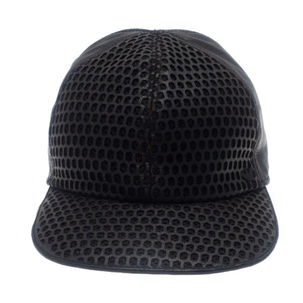 Emporio Armani Black Leather Cutout Baseball Cap Size S