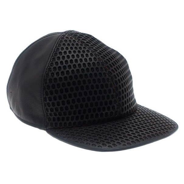 Emporio Armani Black Leather Cutout Baseball Cap Size L