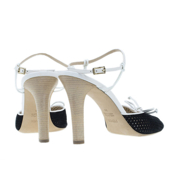 Fendi Black Suede Ankle Strap Sandals Size 39