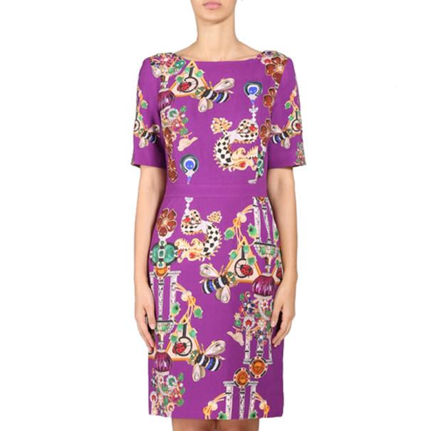Mary Katrantzou Harlie Purple Printed Wool Dress M