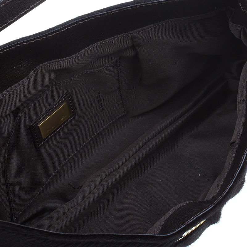 Fendi Dark Brown Pony Hair Chef Shoulder Bag