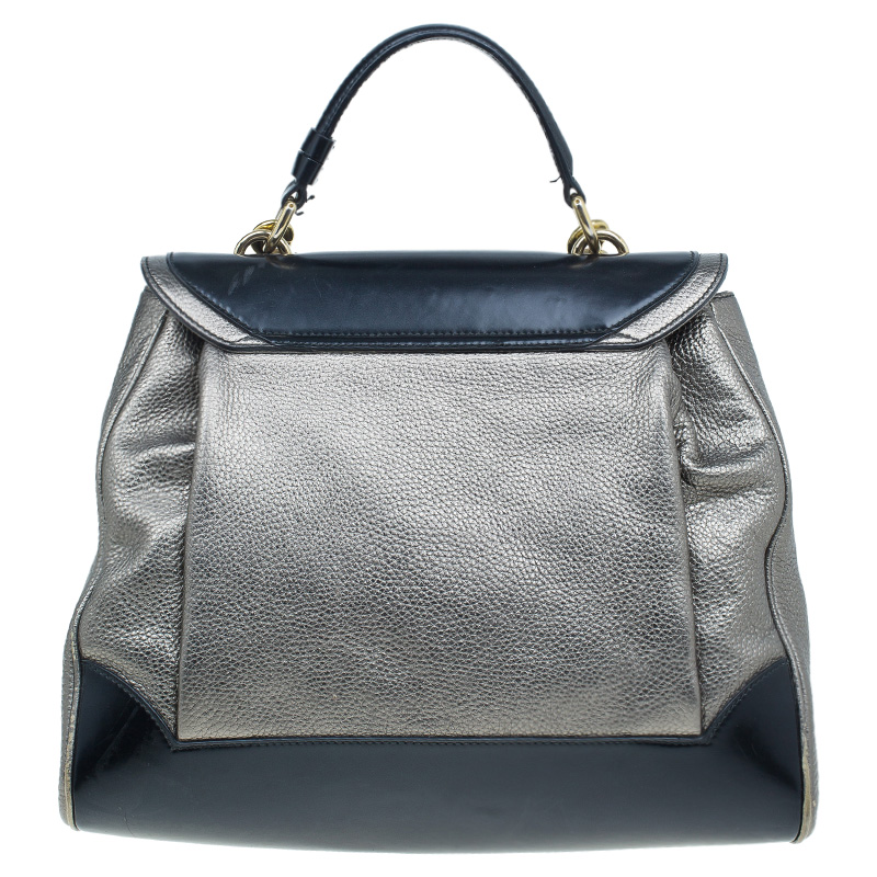 Dolce and Gabbana Metallic Silver/Black Leather Miss Babette Shoulder Bag