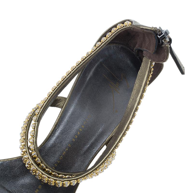 Giuseppe Zanotti Bronze Embellished Toe Ring Wedge Sandals Size 37