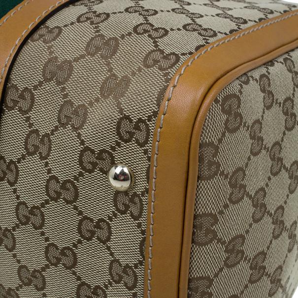 Gucci Original GG Brown Canvas Medium Vintage Web Boston Bag