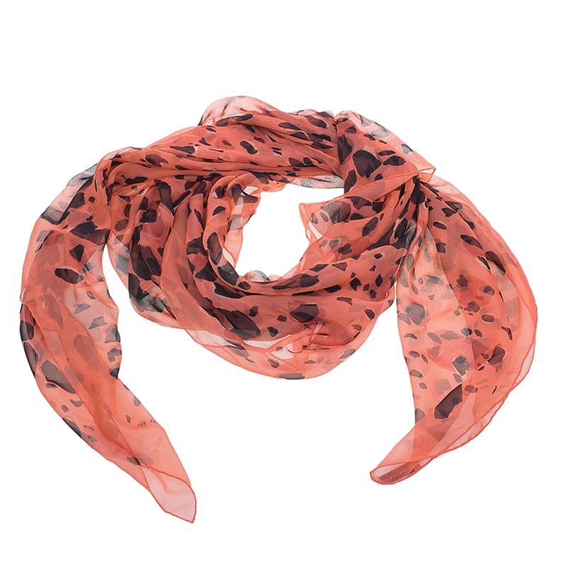 Burberry Red Animal Print Silk Stole