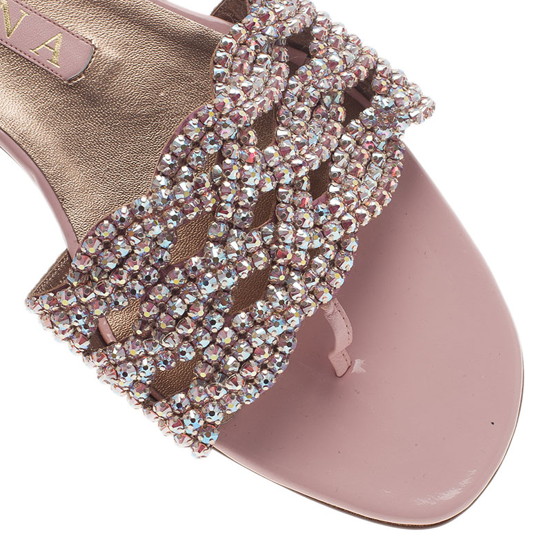 Gina Pink Crystal Embellished Dawn Flat Slides Size 40