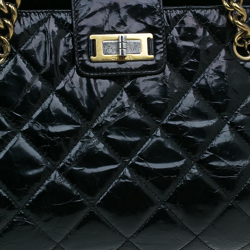 Chanel Black Glazed Cracked Calfskin Leather Tote Bag